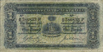 Featured is a photo image of a One Pound Bank Note issued by The Commonwealth of Australia in 1913-18.